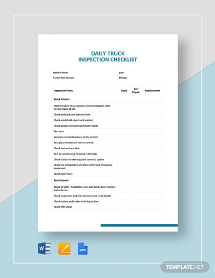 Truck Inspection Checklist Template - Word | Google Docs