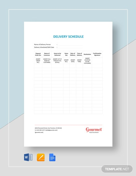 Simple Delivery Schedule Template