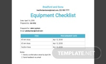 Equipment Checklist Template