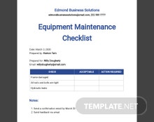 Equipment Maintenance Checklist Template
