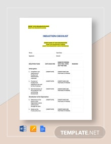 Induction Checklist Template