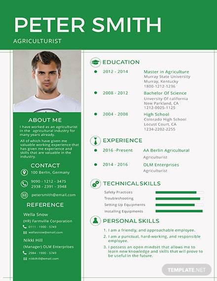 Free Agriculturist Resume Template