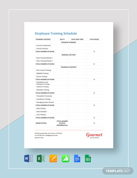 Restaurant Employee Training Schedule Template