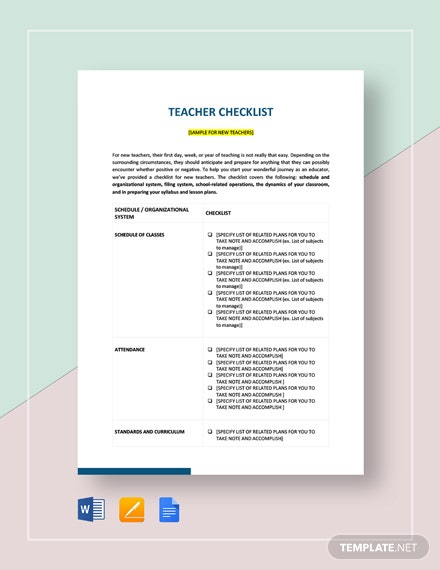 Teacher Checklist Template