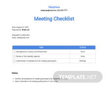 Meeting Checklist Template