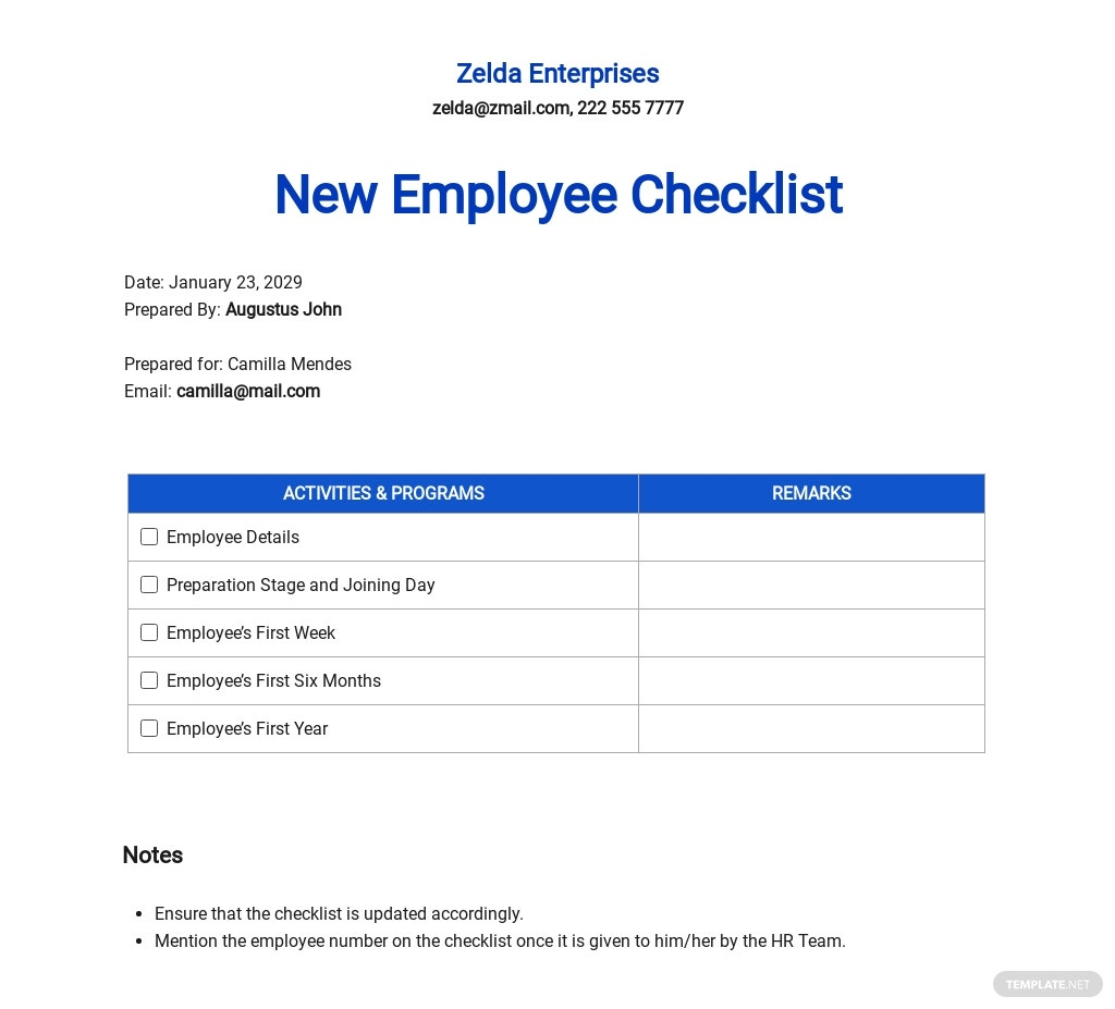 New Employee Checklist Template - Word (DOC) | Apple (MAC ...