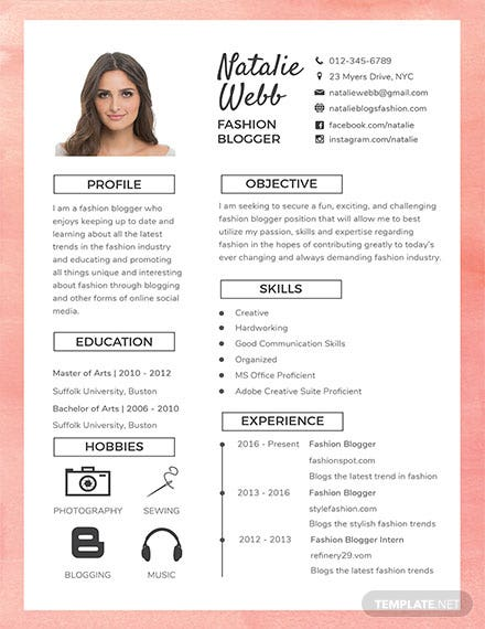 free best fashion cv template  download 200  resume
