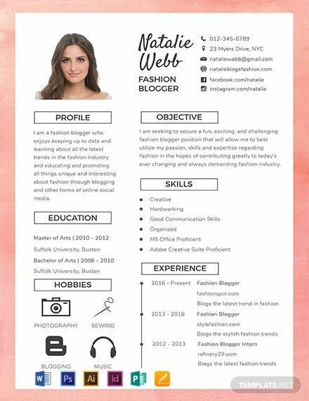free best fashion cv template  download 2056  resume