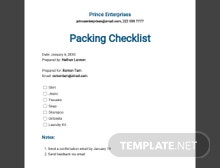Packing Checklist Template