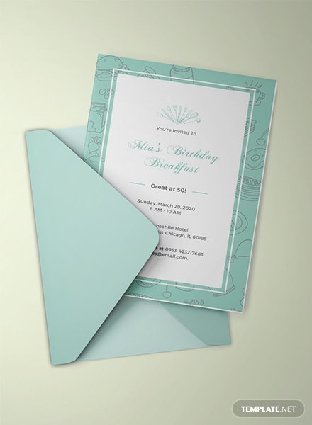 Free Birthday Breakfast Invitation Template