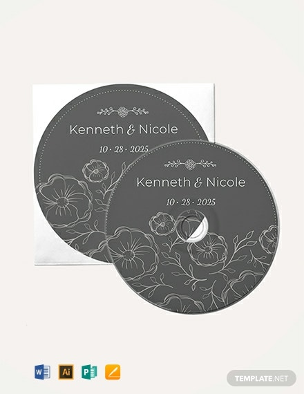 Free Wedding CD Label Template