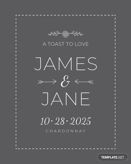 Free Wedding Champagne Bottle Label Template