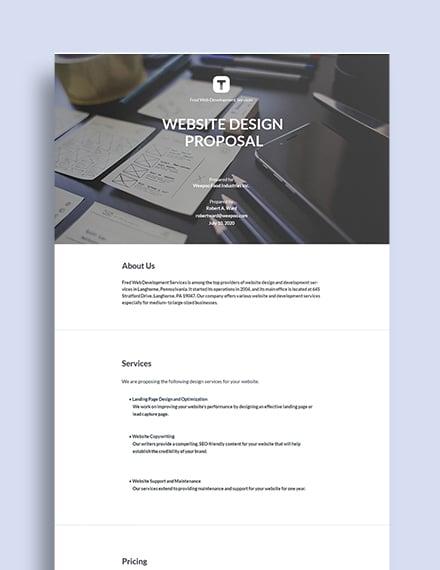 Website Design Proposal Sample