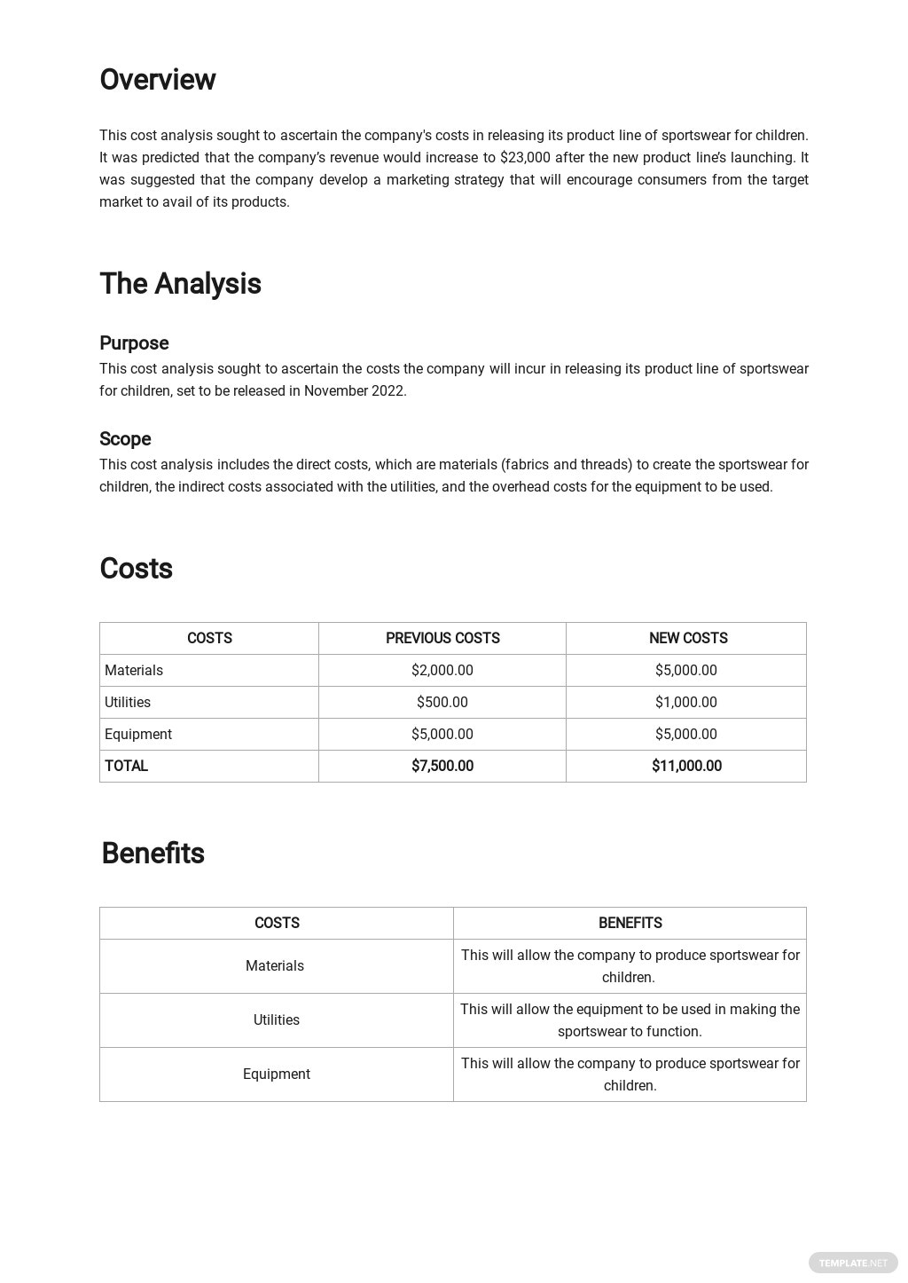 Simple Cost Analysis Template 1.jpe