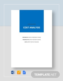 Simple Cost Analysis Template