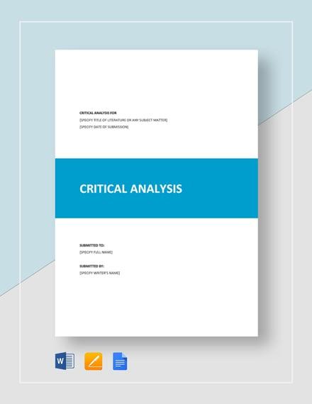 Critical Analysis Template