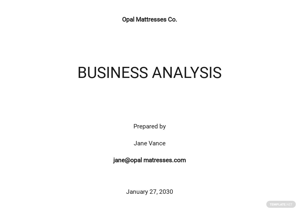 Business Analysis Template