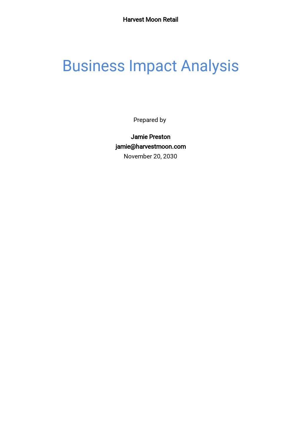 Business Impact Analysis Template