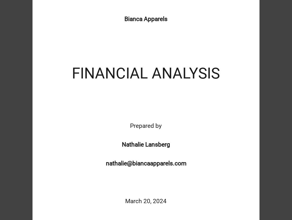 Financial Analysis Template