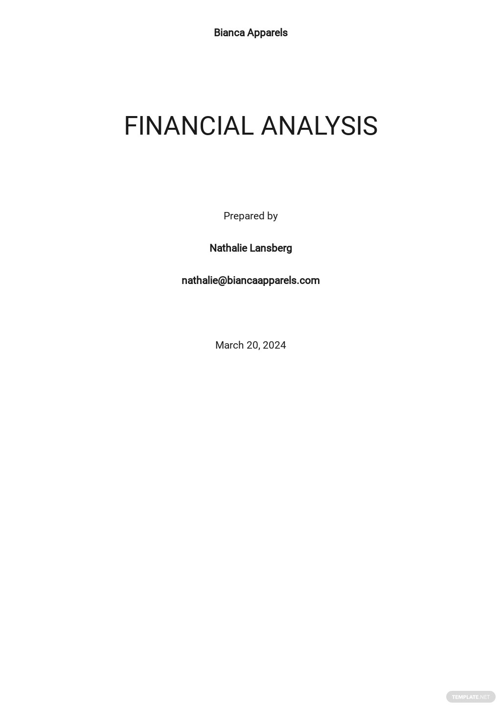 Financial Analysis Template