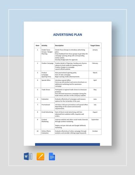 Advertising Plan Template