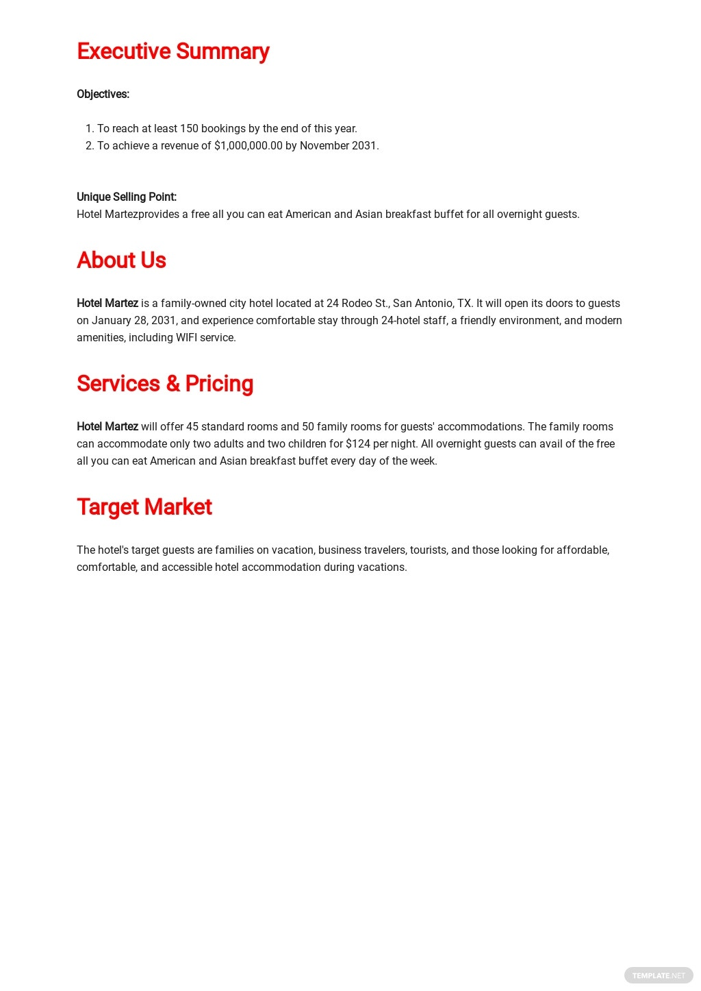 Hotel Business Plan Template [Free PDF] - Google Docs, Word, Apple Pages