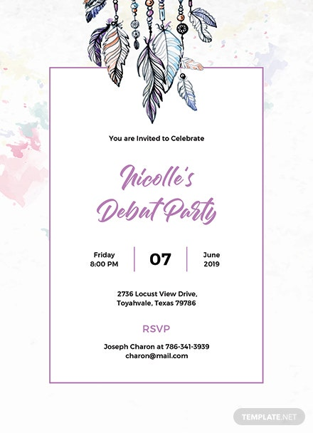 free boho debut invitation template  download 344