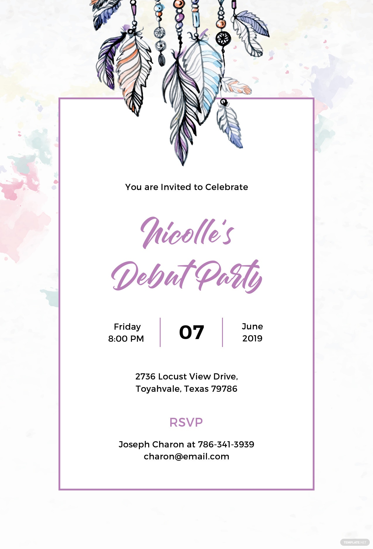Free boho debut invitation template in psd ms word publisher boho debut invitation template stopboris Image collections