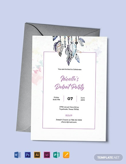 Free Boho Debut Invitation Template