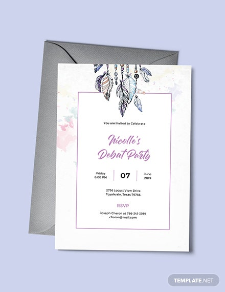free boho debut invitation template  download 517