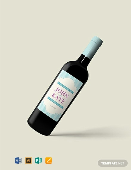 picture about Free Printable Wine Bottle Label called Absolutely free Marriage Wine Bottle Label Template - Phrase PSD