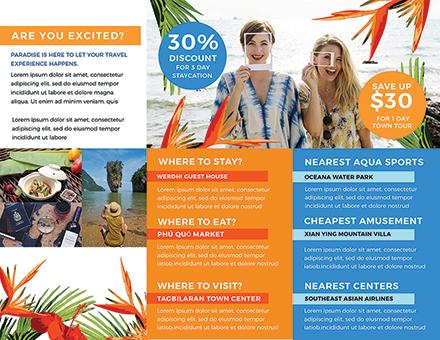 Travel Tri-Fold Brochure Template [Free Publisher] - Illustrator, InDesign, Word, PSD