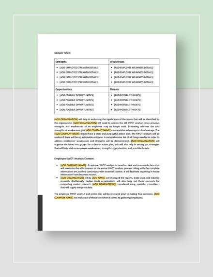 Sample Employee SWOT Analysis Download