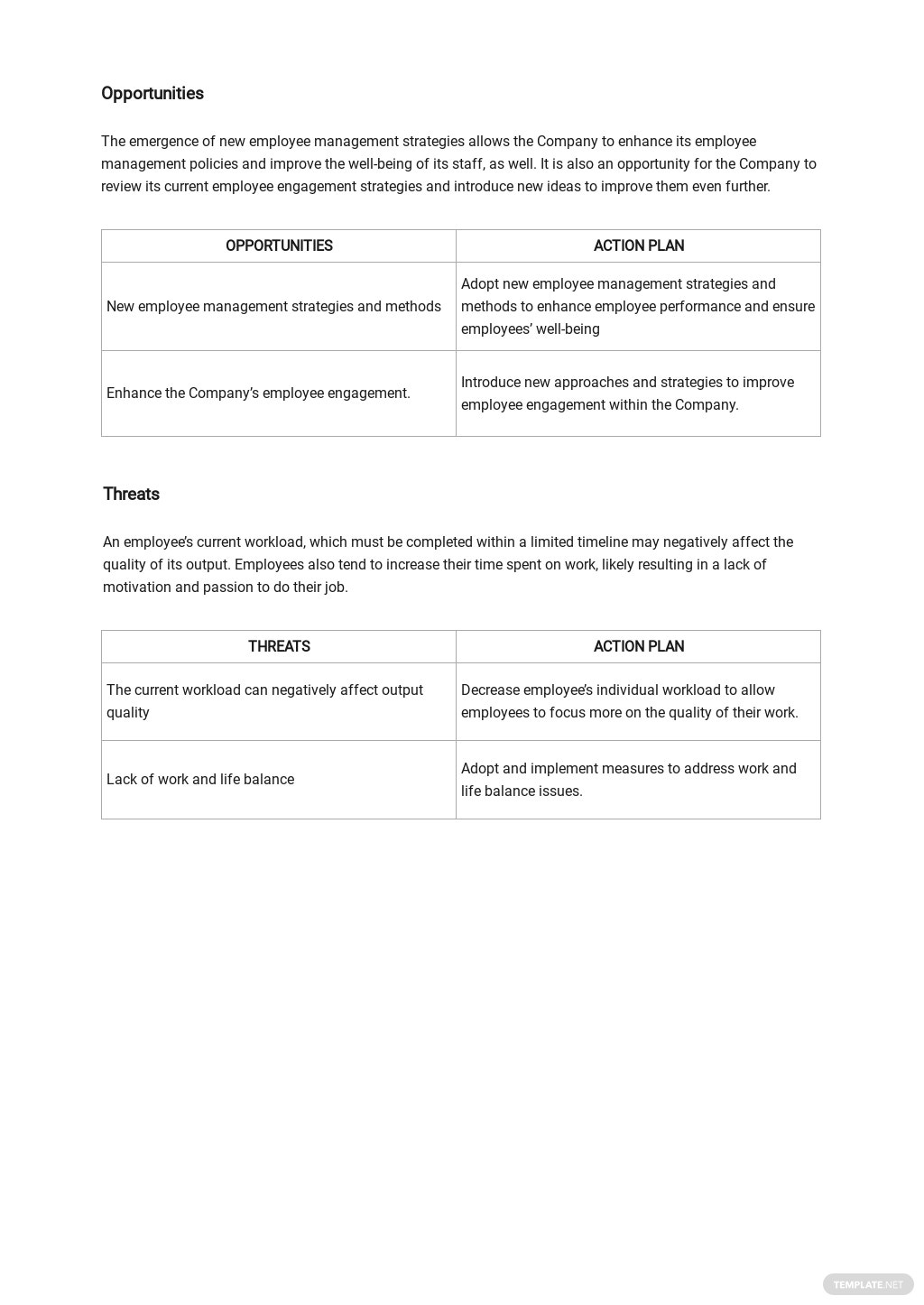 Sample Employee SWOT Analysis Template 2.jpe