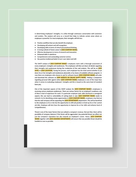 Sample  Sample Employee SWOT Analysis