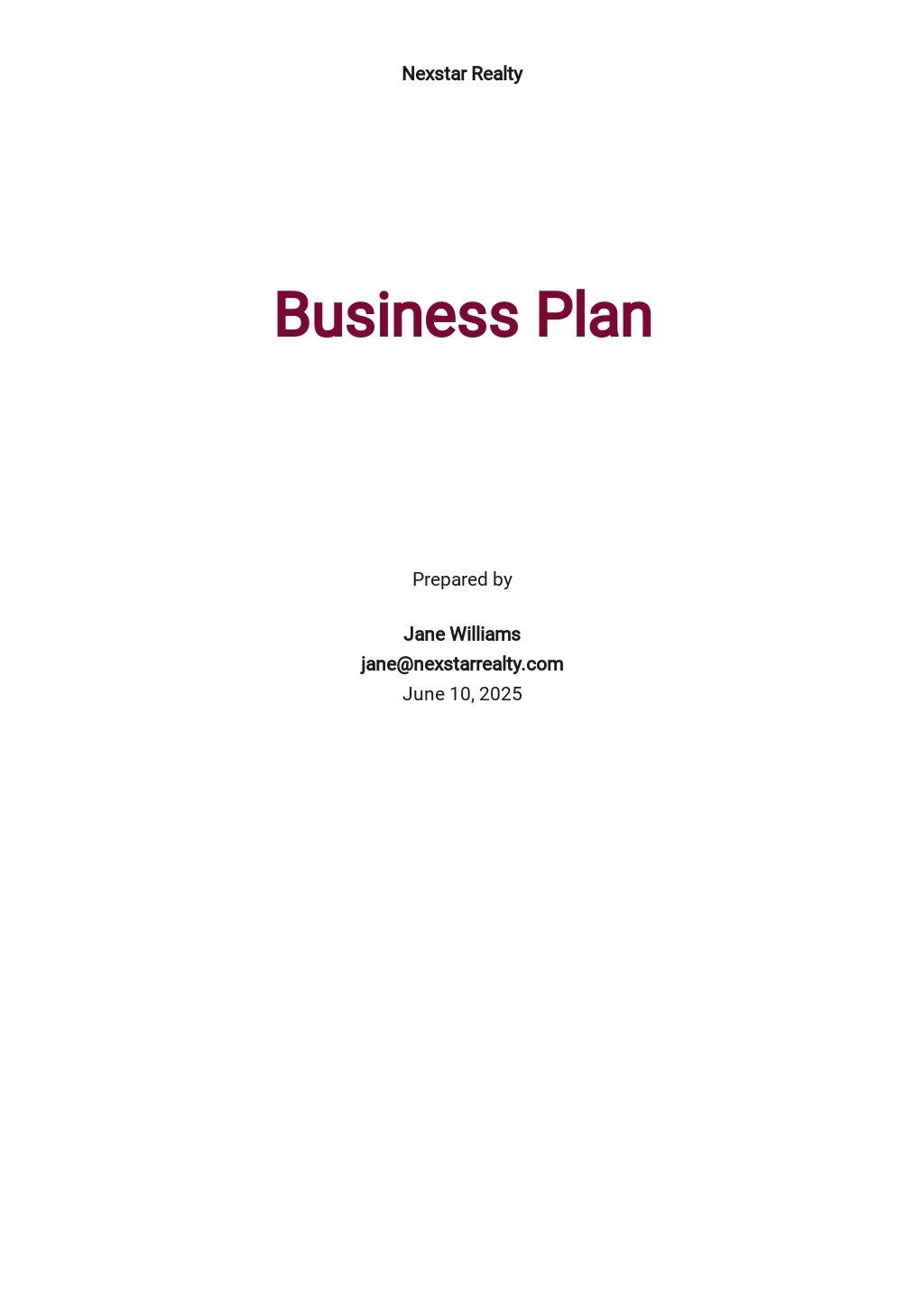 Real Estate Business Plan Template.jpe