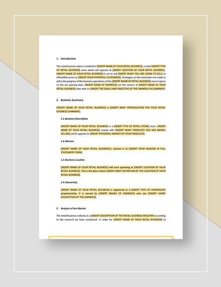 Retail Business Plan Download