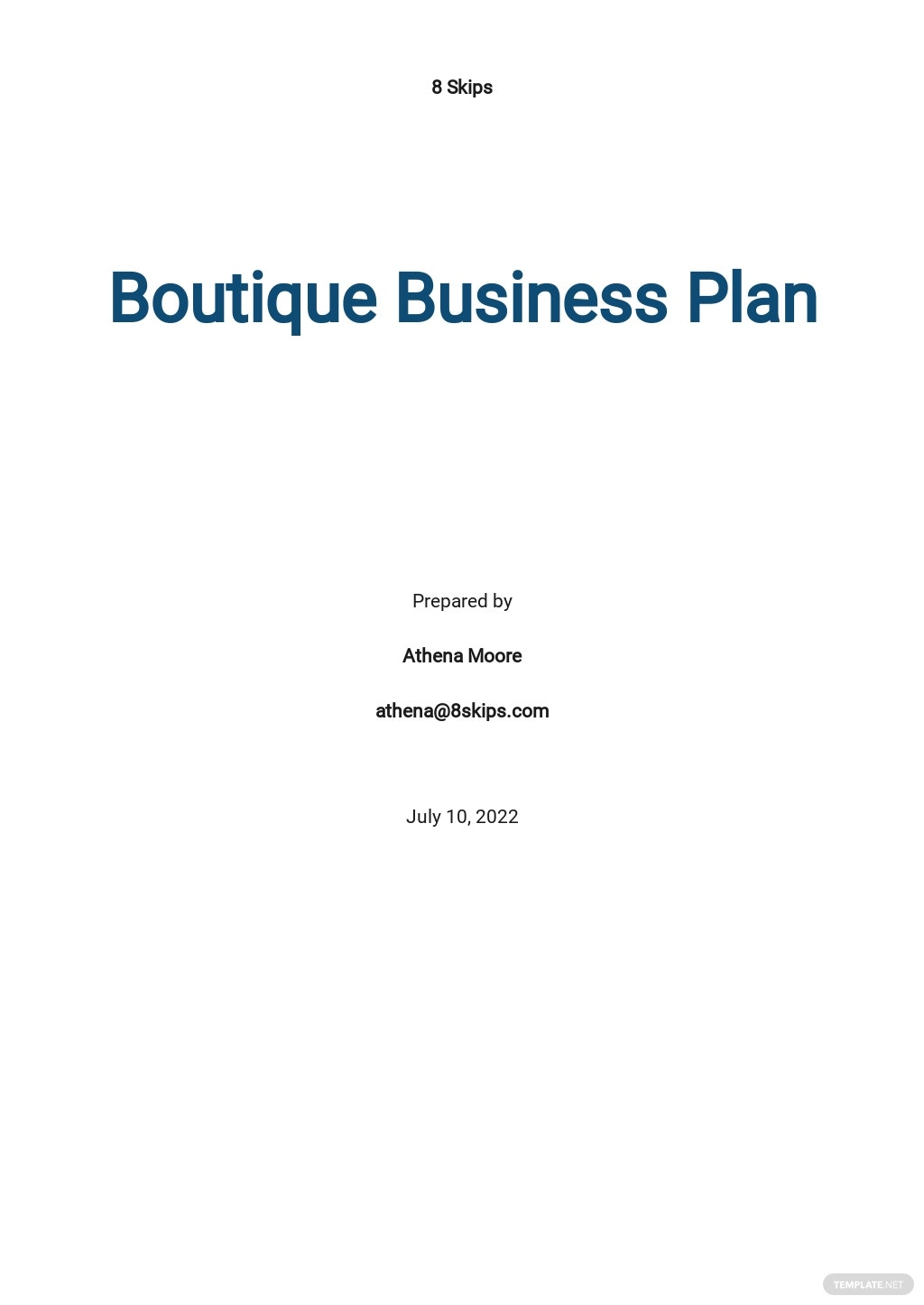 Sample Boutique Business Plan Template