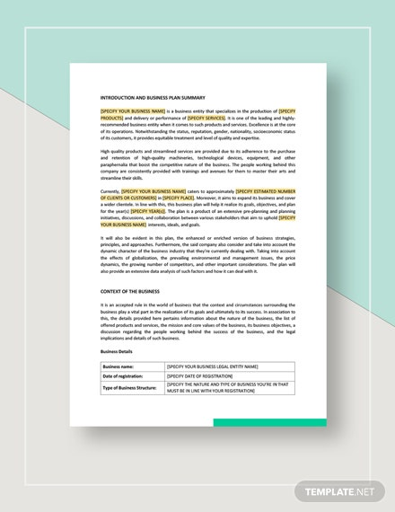 Sample Business Plan Download