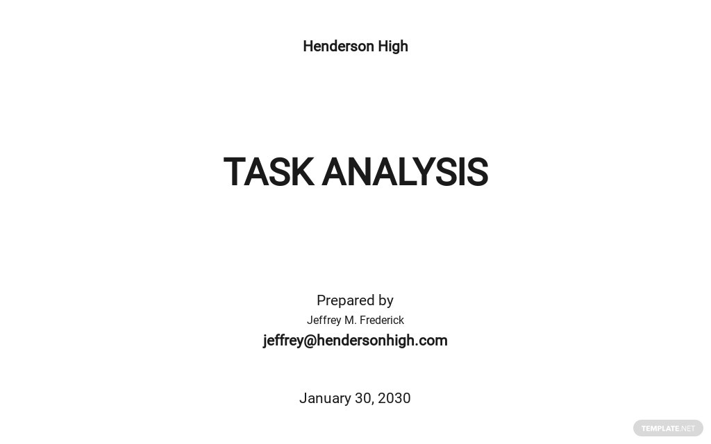 Sample Task Analysis Template