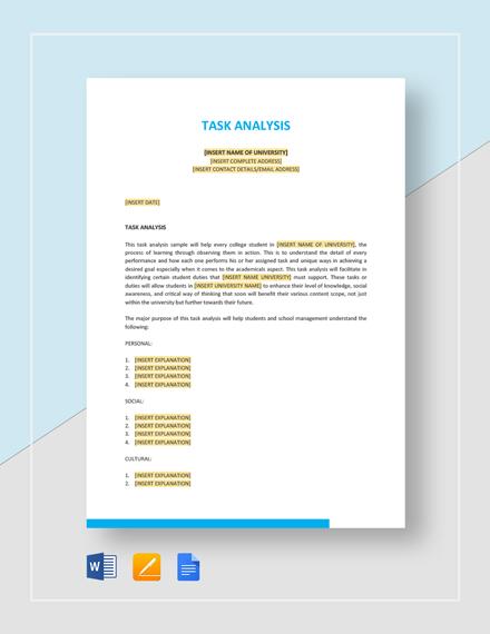 Sample Task Analysis Template