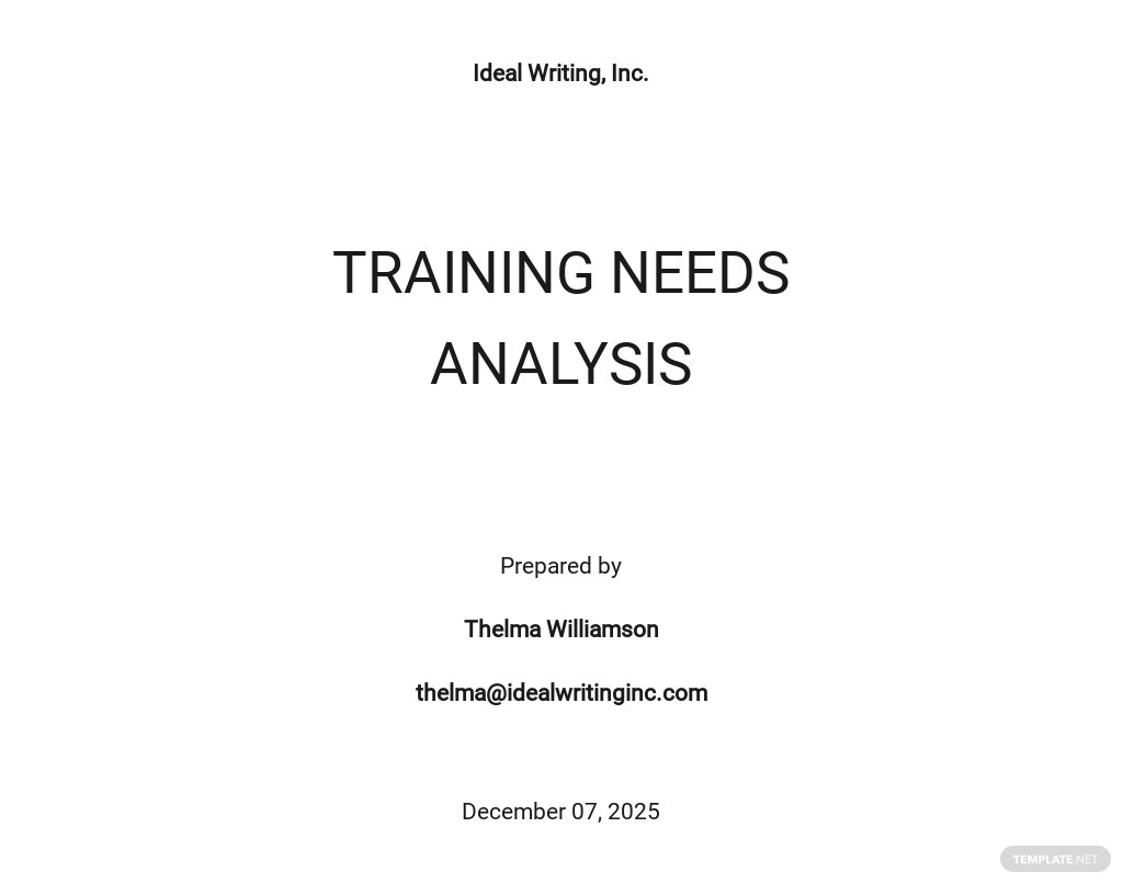 Simple Training Needs Analysis Template