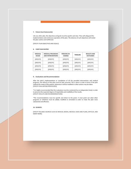 Patient Care Plan Download