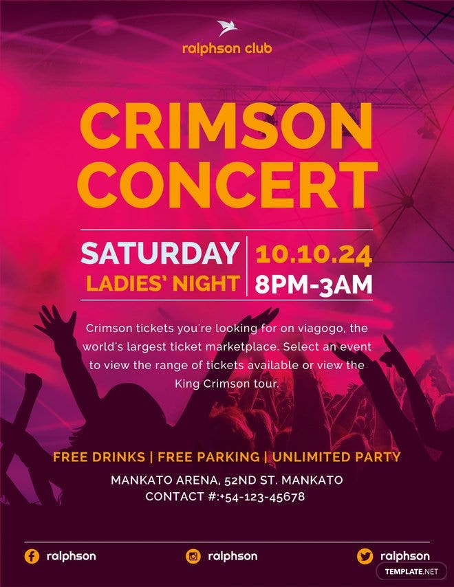 free crimson concert flyer template in adobe illustrator photoshop
