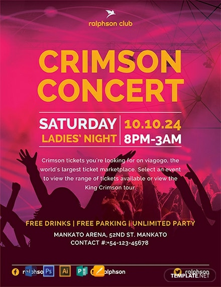 Free Crimson Concert Flyer Template