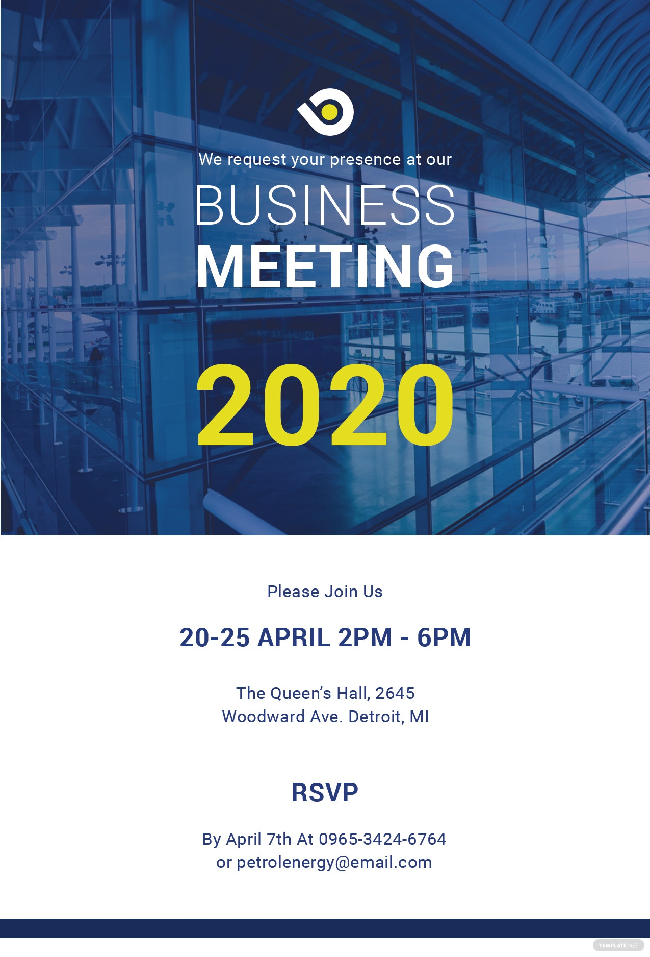 Free Business Meeting Invitation Template in PSD, MS Word ...