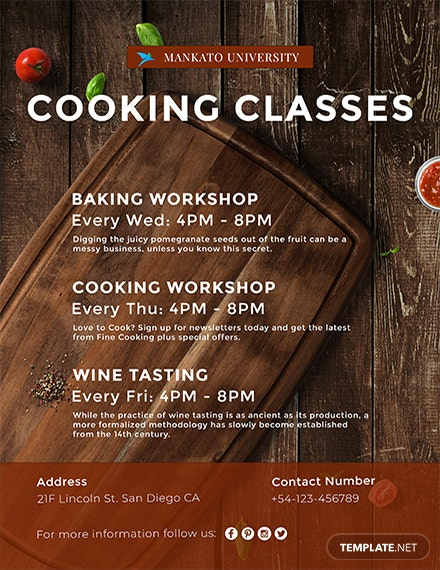 free cooking classes flyer template  download 763  flyers
