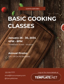 Free Cooking Classes Flyer Template