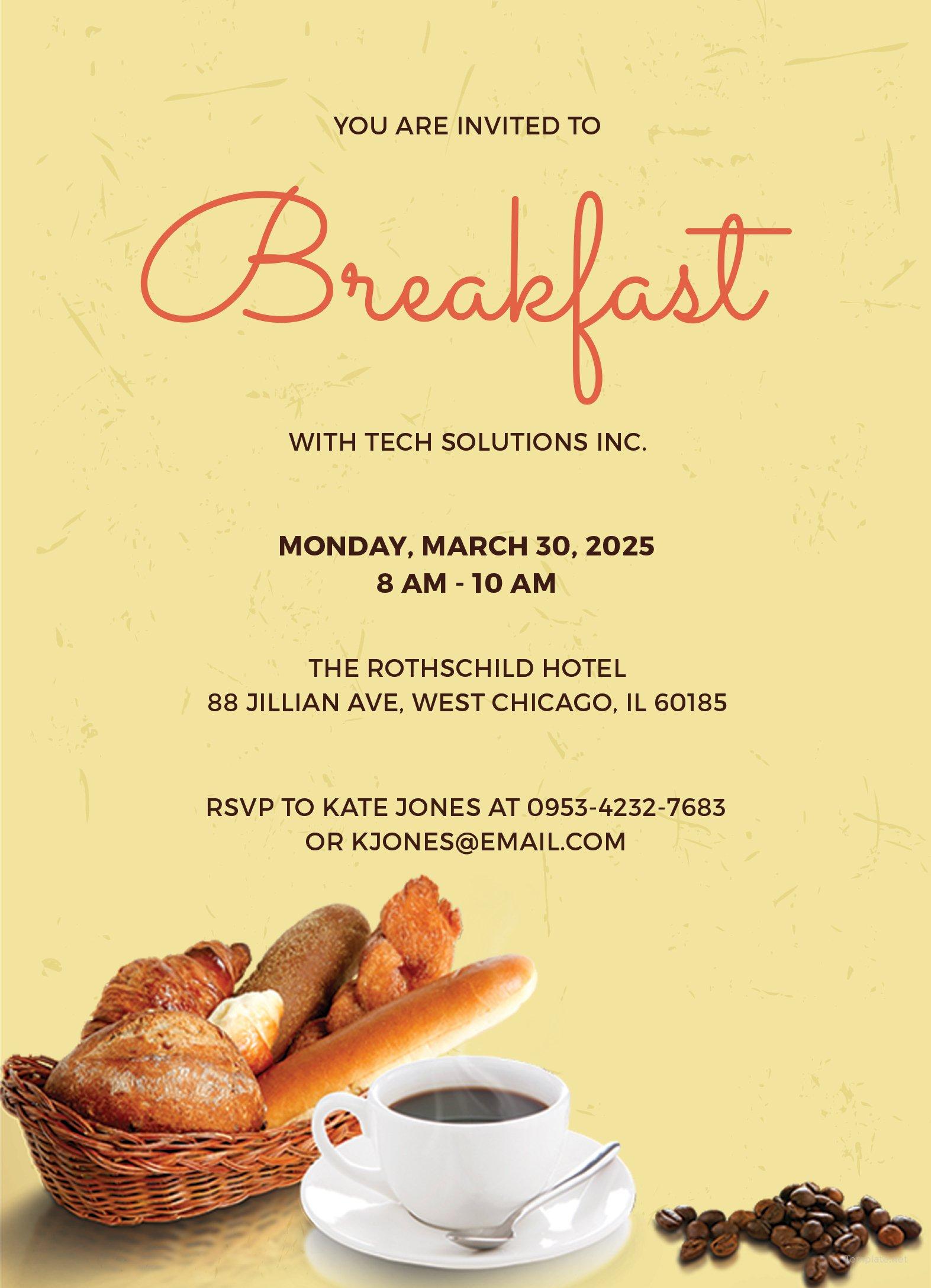 Free Company Breakfast Invitation Template in Adobe ...