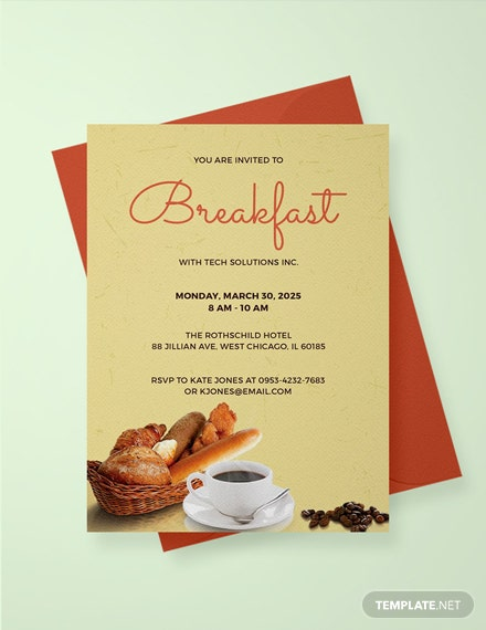 free company breakfast invitation template  download 518